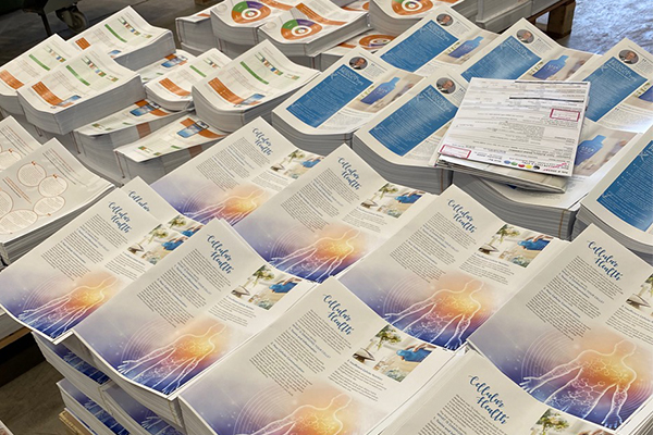 Stacks of printed brochures ready for picking and packing