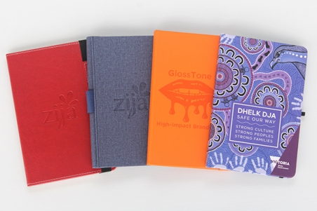 Coloured custom printed notebooks